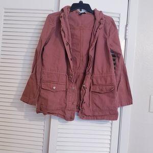 Forever 21 Orange Trench Coat Hooded Pockets M